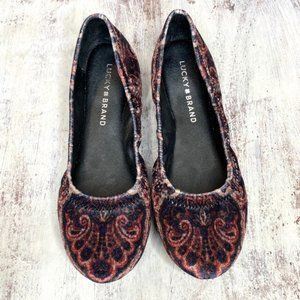 Lucky Brand Emmie Ballet Flat Black Paisley 7